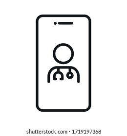 online professional doctor icon, video chat icon with doctor - telemedicine line web icon - editable stroke vector