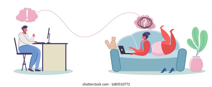 Online psychological help service, vector flat illustration. Psychotherapy session with professional online counselor psychotherapist counseling patient female having emotional, family problems etc.