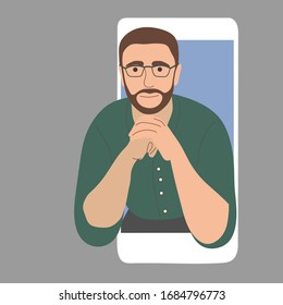 Online psychologist, a man with glasses. Psychological assistance by video call on the phone. Vector flat illustration.