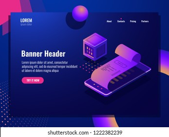 Online purchase isometric icon, payment receipt, electronic bill, pay application mobile phone dark neon vector