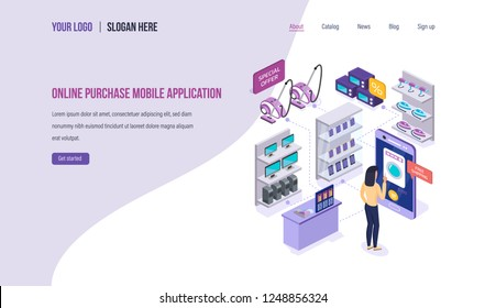 Online purchase mobile application. Digital marketing, buying in online store, e-commerce, shopping using mobile app on smartphone. Landing page template. Isometric vector.