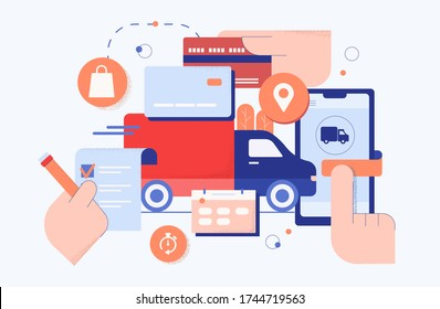 Online purchase shop delivery concept. Illustration of order in store online prepayment with product card in basket indication courier delivery flat home painting upon receipt vector purchase.
