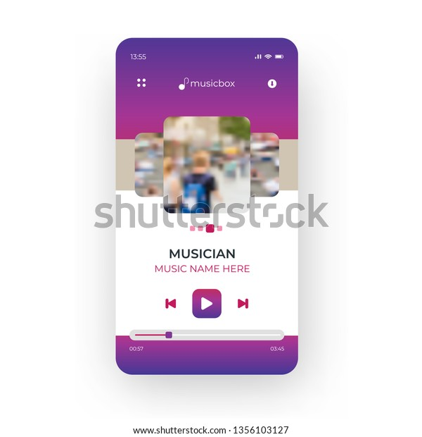 Online Purple Music Player Mobile Application Stock Vector (Royalty