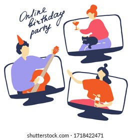 Online quarantine party. Colored characters in different monitors celebrate birthday in period of self-isolation. Man play the guitar, girls drink cocktails in video conference. Vector hand drawn