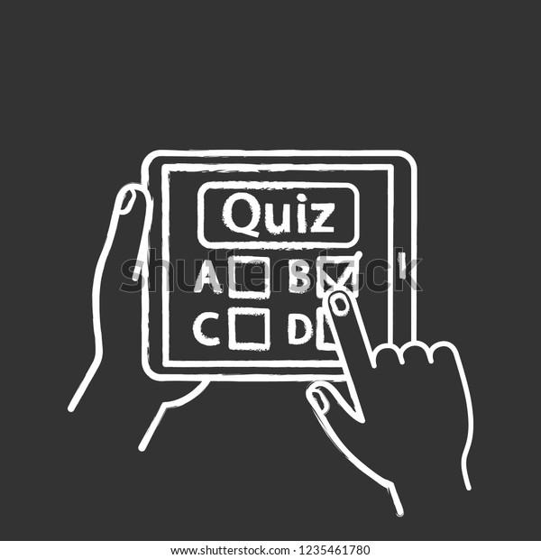 Online Quiz Chalk Icon Quiz App Stock Vector (Royalty Free
