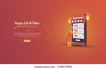 Online qurban mobile application for Eid al Adha concept