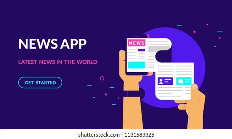 Online reading latest news. Flat vector neon website template and landing page design of online reading news using smartphone mobile app. Human hand holds smartphone and reading daily newspaper
