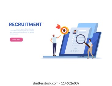 Online recruitment. Human resource management. Cartoon miniature  illustration vector graphic on white background.