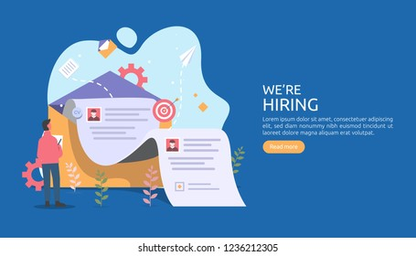 online recruitment or Job hiring concept with tiny people character. select a resume process. agency interview. template for web landing page, banner, presentation, social media. Vector illustration.