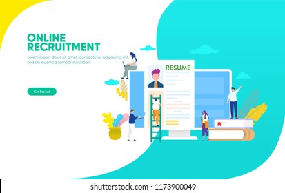 Online Recruitment vector illustration concept, businessman analyzing resume, can use for, landing page, template, ui, web, mobile app, poster, banner, flyer