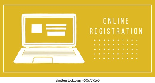 Online registration concept with notebook. Laptop doodle illustration