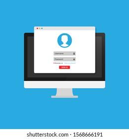 Online registration form. Login form, login page, opened in a web browser window on the monitor screen. Modern flat design vector illustration.