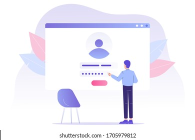 Online registration and sign up concept. Young man signing up or login to online account with user interface. Secure login and password. Modern vector illustration template for UI, mobile app, web