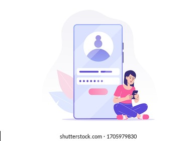 Online registration and sign up concept. Young woman signing up or login to online account on smartphone app. User interface. Secure login and password. Vector illustration for UI, mobile app, web
