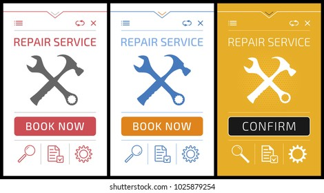 Online Repair Service App - Smartphone Screens. Vector graphic design of mobile application on the theme of 'Technical Service / Support'.