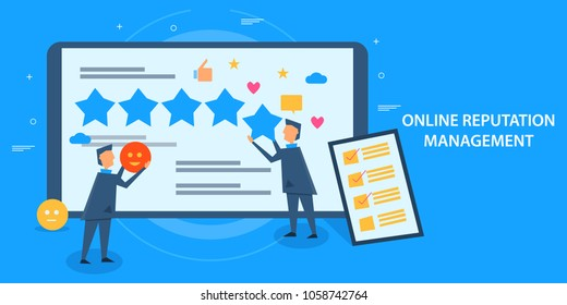 Online reputation management - Business reputation - Flat design vector banner with characters and icons