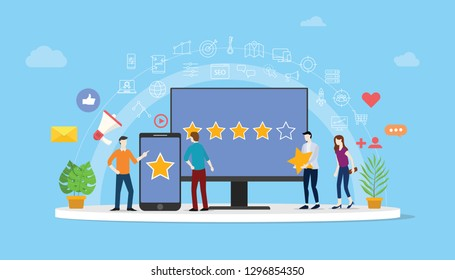 online reputation management team working together for customer review rating star with people work together to manage - vector illustration