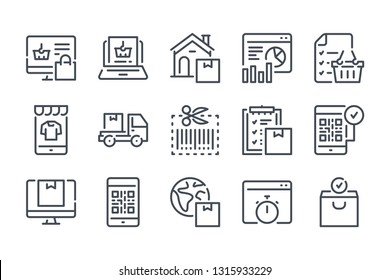 Online retail and marketing related line icons.  Shopping and e-commerce vector linear icon set.