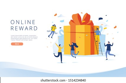 online reward , Group of happy people receive a gift box vector illustration concept, digital referral program, can use for, landing page, template, ui, web, homepage, poster, banner, flyer, coupon