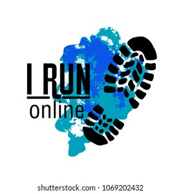 Online running club logo. Sport club, team logotype, emblem, symbol, icon. Marathon, sky running, sprint, jogging. Imprint sneaker on splash background. Vector