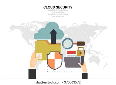 Online safety, data protection, secure connection, internet security infographic concept vector. Concept for web banner and promotional material.