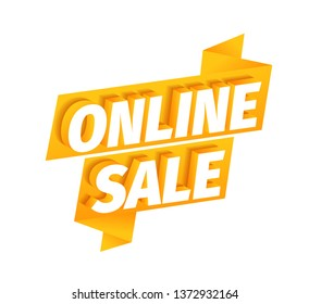 Online sale offer ribbon. Online store. Advertising promotion sticker poster. 3d letters on a orange golden background. Call for shop purchases. Vector Illustration text clipart.