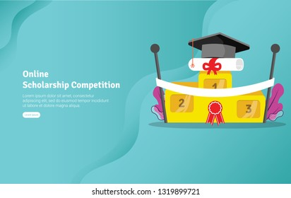 Online Scholarship Concept Educational and Scientific Illustration Banner, Suitable For Wallpaper, Banner, Background, Card, Book Illustration or Web Landing Page