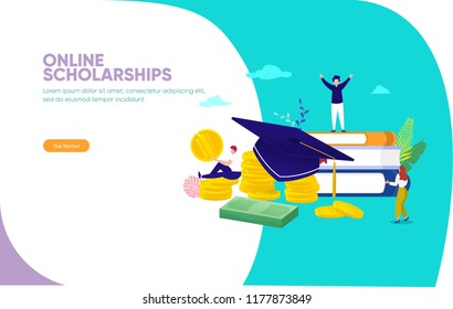 online scholarships concept vector illustration, group of people on stack of money and book, can use for, landing page, template, ui, web, mobile app, poster, banner, flyer