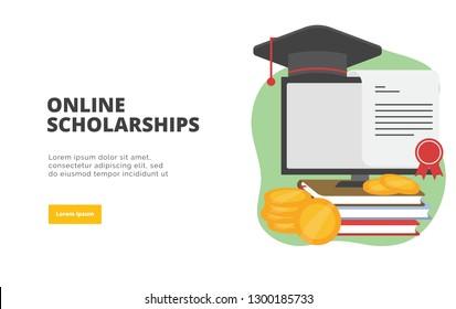 Bourses d'études en ligne conception à plat bannière d'illustration concept de marketing numérique et de promotion commerciale