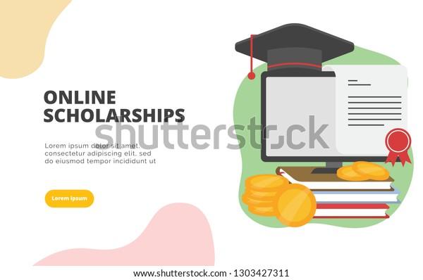 Online Scholarships flat design banner illustration concept for digital marketing and business promotion