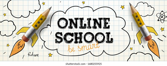 Online School. Digital internet tutorials and courses, online education. Vector banner template for website and mobile app development. Doodle style illustration