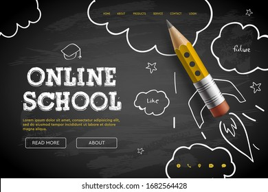 Online School. Digital internet tutorials and courses, online education, e-learning.  Doodle style vector illustration