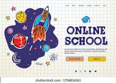 Online School. Digital internet tutorials and courses, online education, e-learning. Web banner template for website, landing page and mobile app development. Doodle style vector illustration
