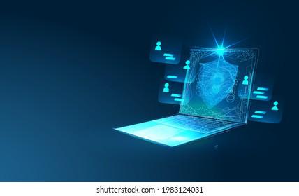Online-Sicherheitskonzept. Cybersicherheit, Datenschutz, Cyberattacke-Konzept auf blauem Hintergrund. Entwicklung von Datenbanksicherheitssoftware. Laptop geschützt mit Schild. Low-Poly-Vektorgrafik