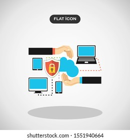 Online security flat illustration.Simple logo vector illustration for graphic and web design.