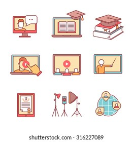 Online seminar icons thin line set. Webinar education and development. Flat style color vector symbols isolated on white.