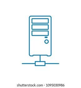 Online server linear icon concept. Online server line vector sign, symbol, illustration.