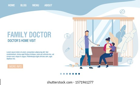 Online Service for Calling Family Doctor to Home. Landing Page Trendy Flat Design. Cartoon Podiatrist Visiting Sick Child for Disease Detection and Treatment. Therapist House Call. Vector Illustration