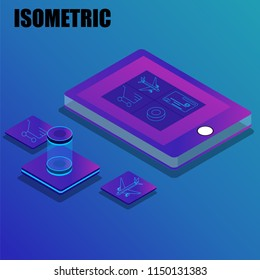 Online services concept based isometric design with illutsration of smartphone and applications.