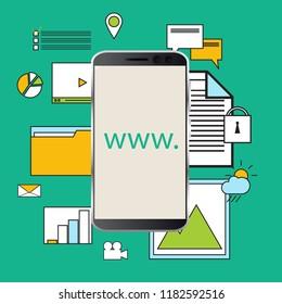 Online services concept. Web design, design, e-commerce, marketing. Vector illustration