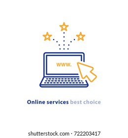 Online services, web design, new website promotion, e-commerce and marketing concept, internet provider, laptop cursor, vector line icon