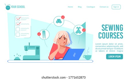 Online sewing courses, dressmaking tailoring fashion design school or clothes modeling class. Confused thoughtful woman studying on laptop learning new profession. Presentation landing page template