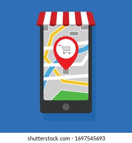 online shop concept - mobile phone and map with map pin.Conceptual vector illustration in flat style design.Isolated on background.