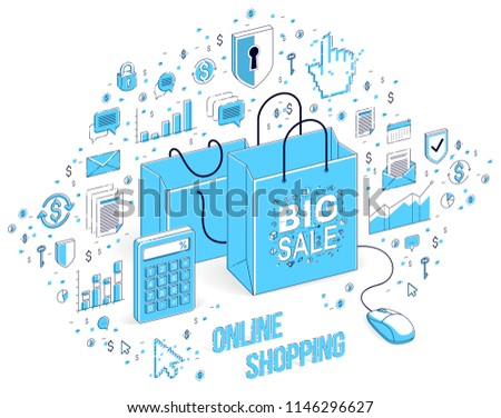 online shop concept web store internet stock vector (royalty freeonline shop concept, web store, internet sales, shopping bag with pc mouse connected