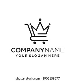 Online Shop Crown Logo Design Vector