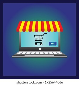 Online shop. Digital Marketing, store, E-commerce shopping concept. laptop screen buy. Colored flat vector icon isolated on blue. Fashion design for web UI, mobile upp, banner, poster.