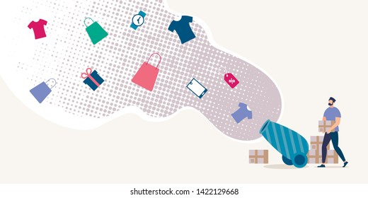 Online Shop Discounts Campaign Flat Vector Concept with Man Shooting in Air from Vintage Cannon with Clothing, Gifts and Gadgets Illustration. Shopping Goods and Saving Money on Store Seasonal Sale