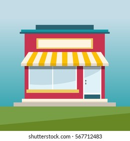 Online shop flat design vector illustration. E-shop illustration