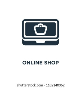 Online shop icon. Black filled vector illustration. Online shop symbol on white background. Can be used in web and mobile.