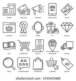 Online Shop Symbol im Strichstil gesetzt. Sammlung von Symbolen für den mobilen Einkauf. E-Business-Vektorgrafik.